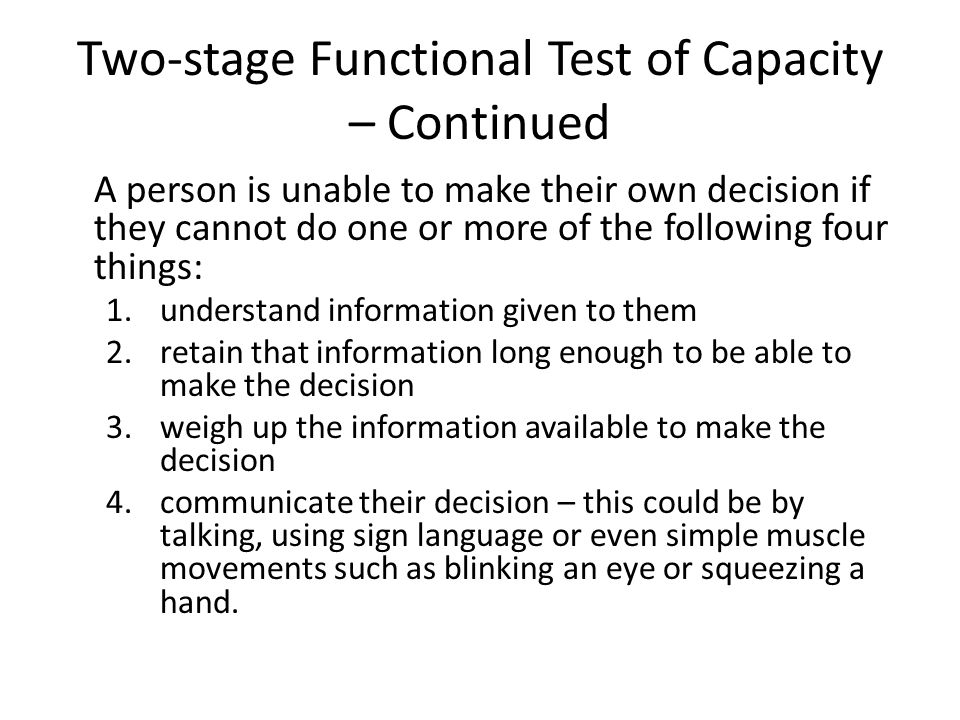 Two-stage Functional Test of Capacity – Continued