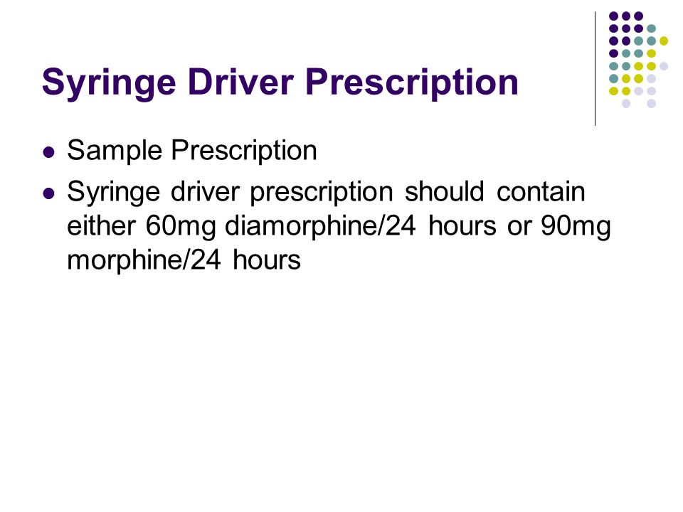 Syringe Driver Prescription
