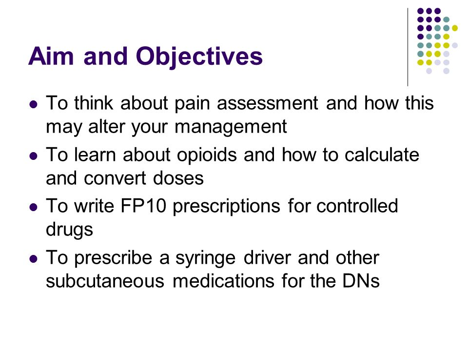 Aim and Objectives To think about pain assessment and how this may alter your management.