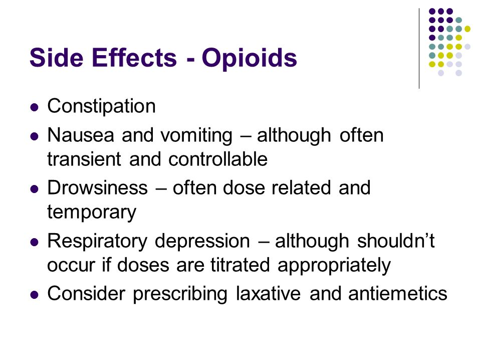 Side Effects - Opioids Constipation