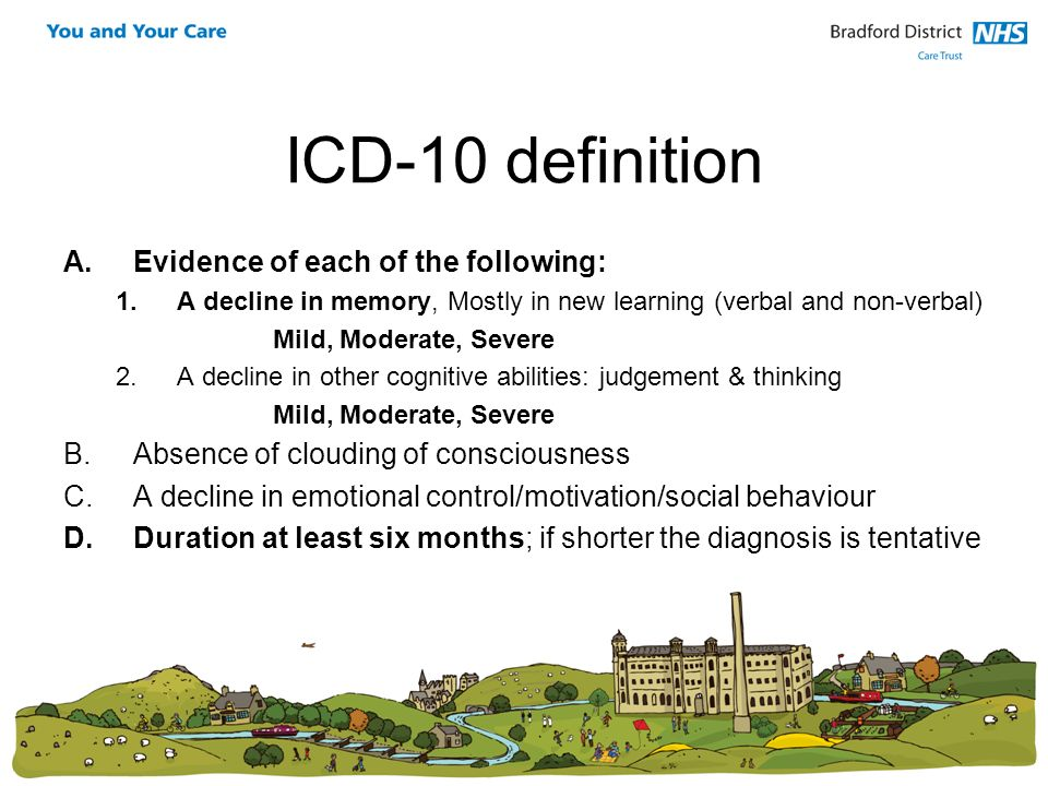 ICD-10 definition Evidence of each of the following:
