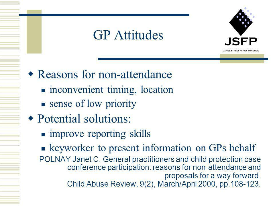 GP Attitudes Reasons for non-attendance Potential solutions:
