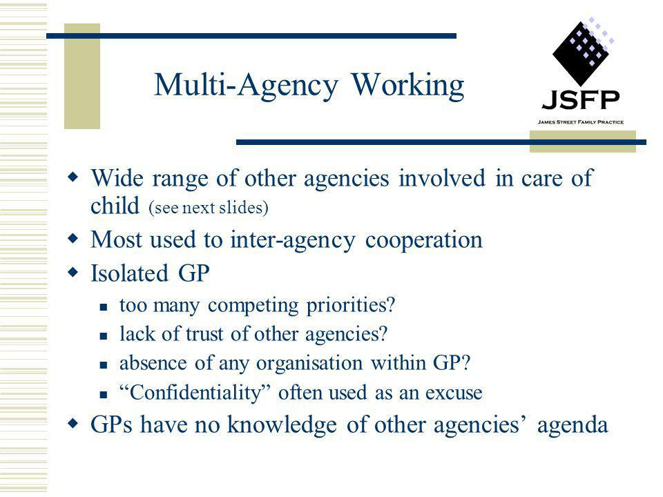 Multi-Agency Working Wide range of other agencies involved in care of child (see next slides) Most used to inter-agency cooperation.