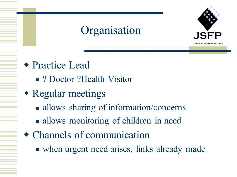 Organisation Practice Lead Regular meetings Channels of communication