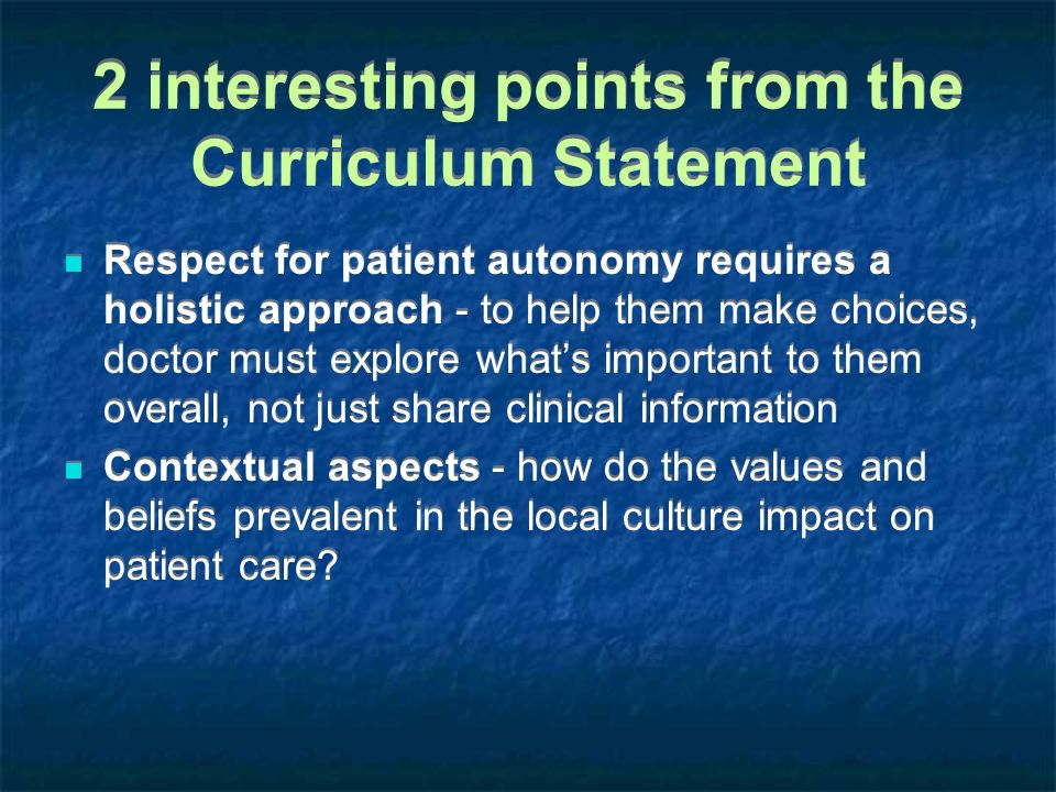 2 interesting points from the Curriculum Statement