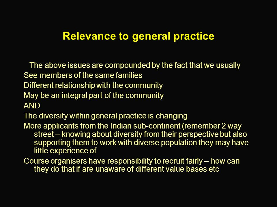 Relevance to general practice