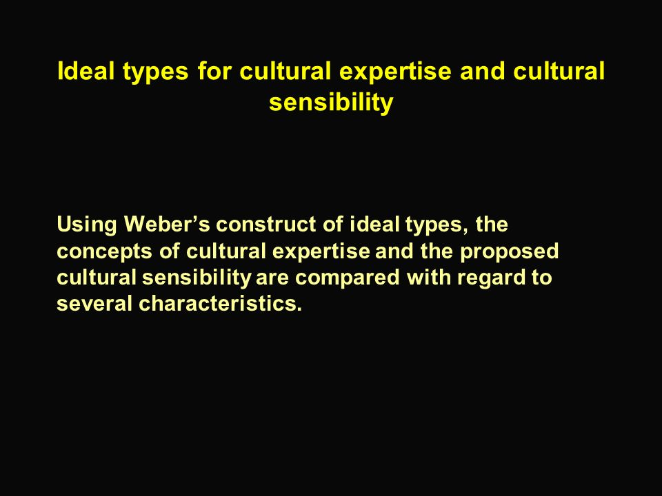 Ideal types for cultural expertise and cultural sensibility