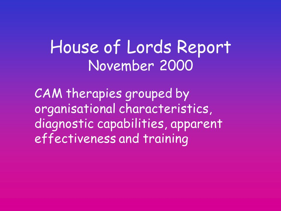 House of Lords Report November 2000