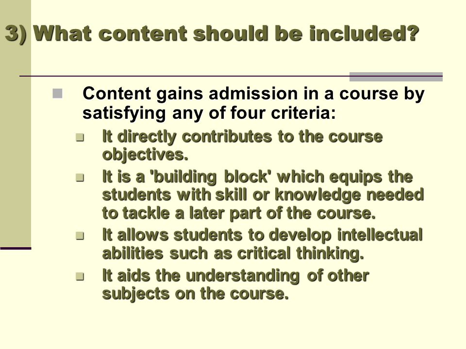 3) What content should be included