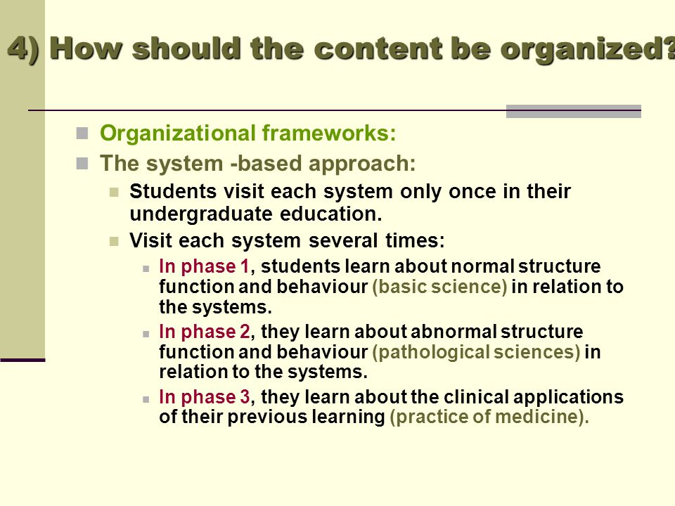 4) How should the content be organized