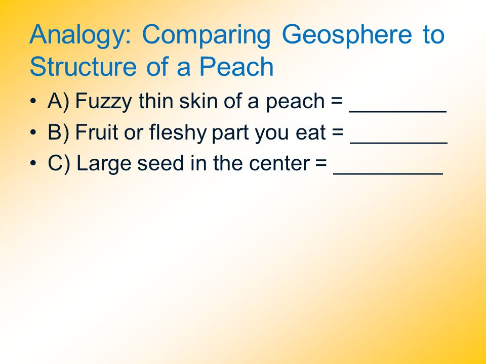 Analogy: Comparing Geosphere to Structure of a Peach