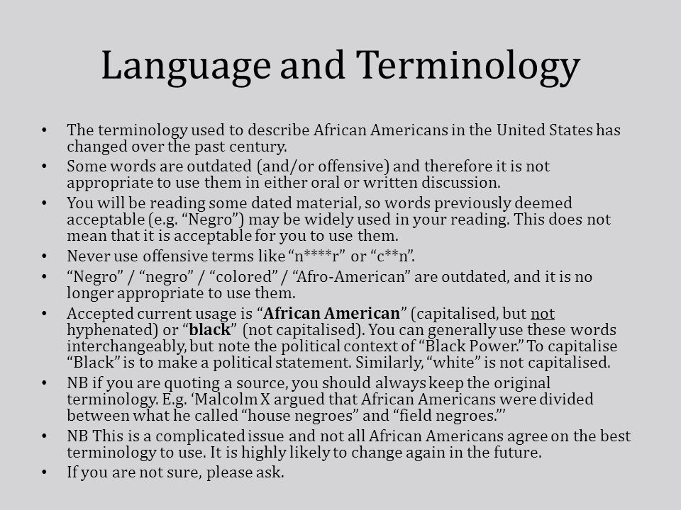 Language and Terminology