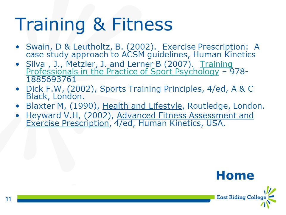 Training & Fitness Home