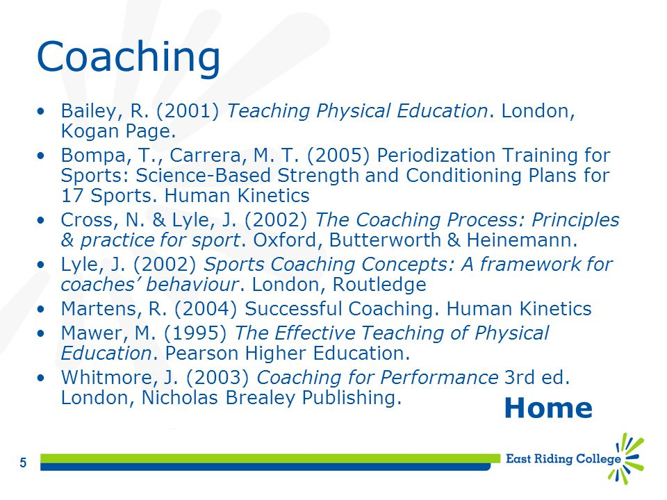 Coaching Bailey, R. (2001) Teaching Physical Education. London, Kogan Page.