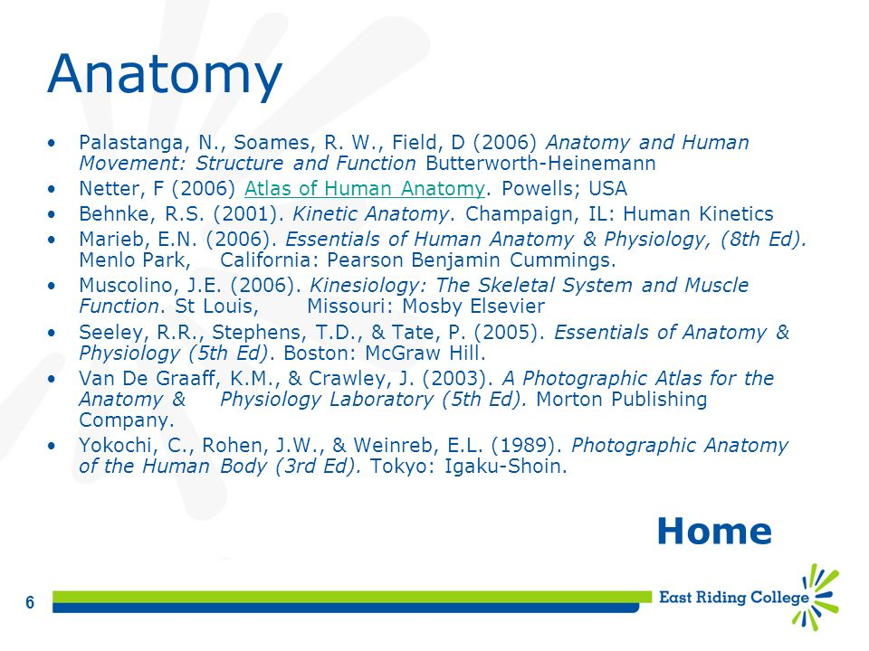 Anatomy Palastanga, N., Soames, R. W., Field, D (2006) Anatomy and Human Movement: Structure and Function Butterworth-Heinemann.