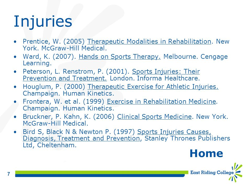 Injuries Prentice, W. (2005) Therapeutic Modalities in Rehabilitation. New York. McGraw-Hill Medical.