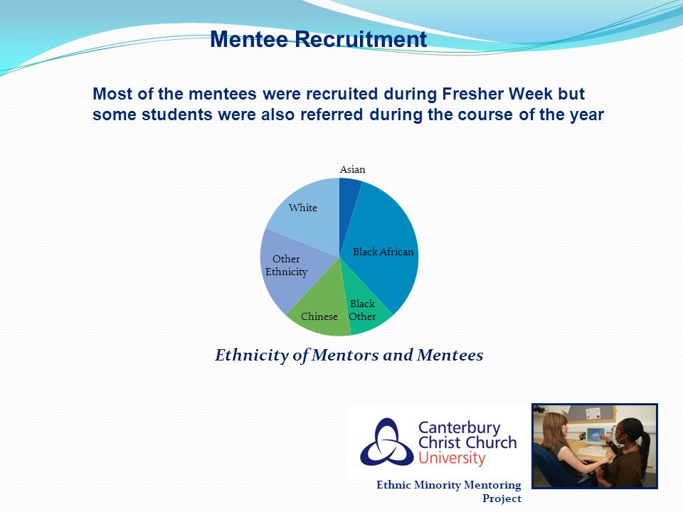 Mentee Recruitment Most of the mentees were recruited during Fresher Week but some students were also referred during the course of the year.