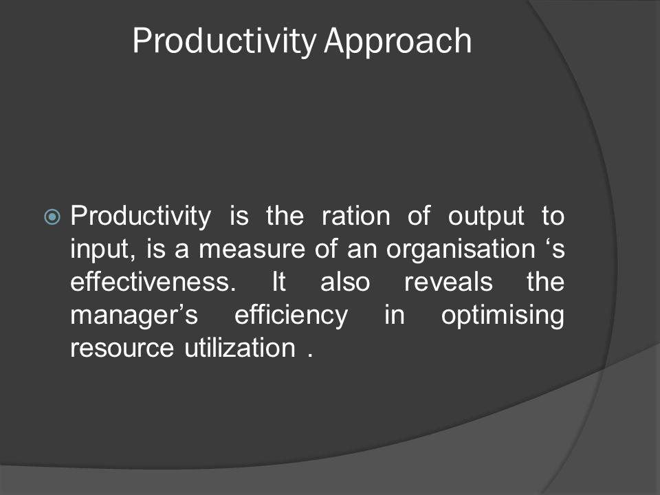 productivity approach in organizational behavior