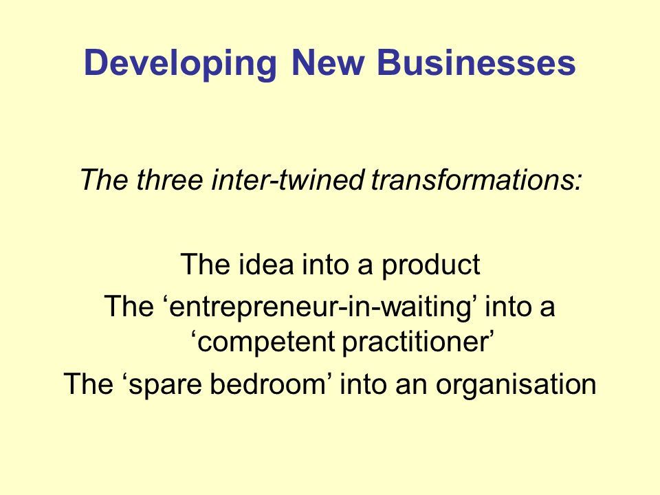 Developing New Businesses