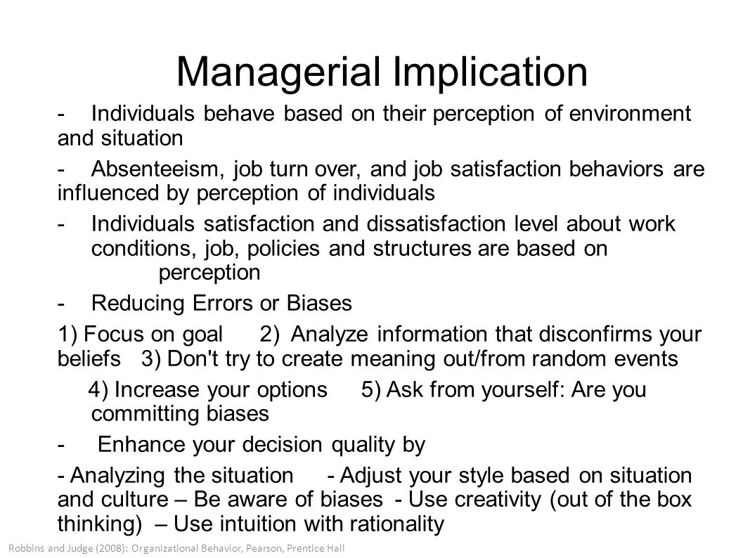 managerial implications of organizational behavior