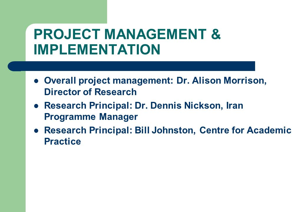 PROJECT MANAGEMENT & IMPLEMENTATION