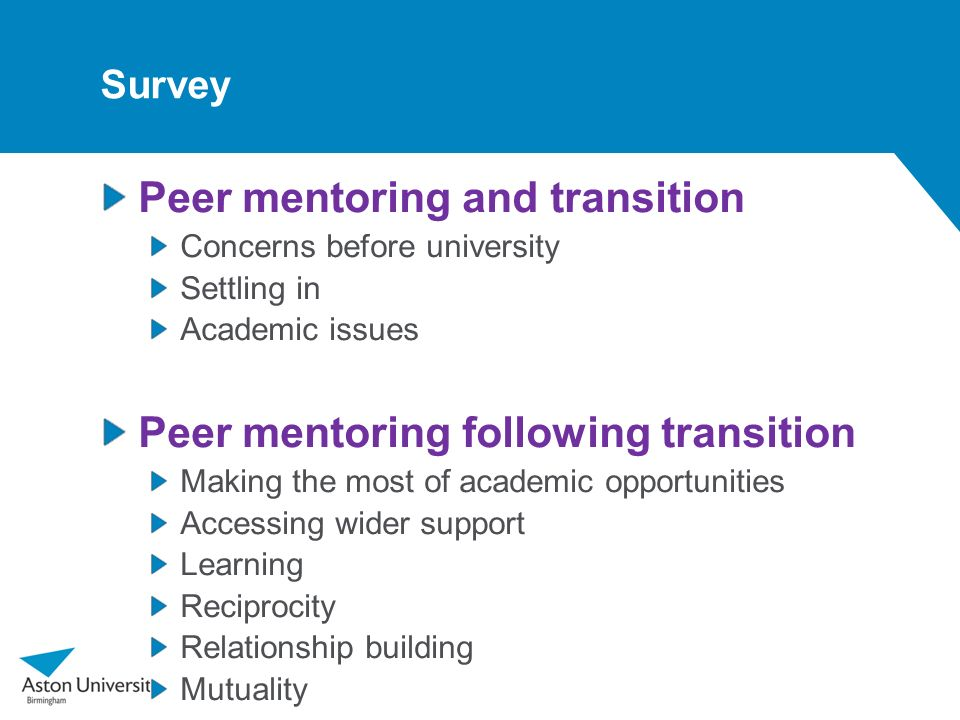 Peer mentoring and transition