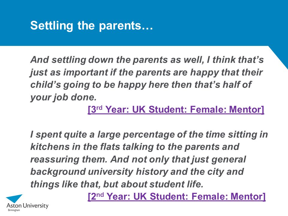 Settling the parents…