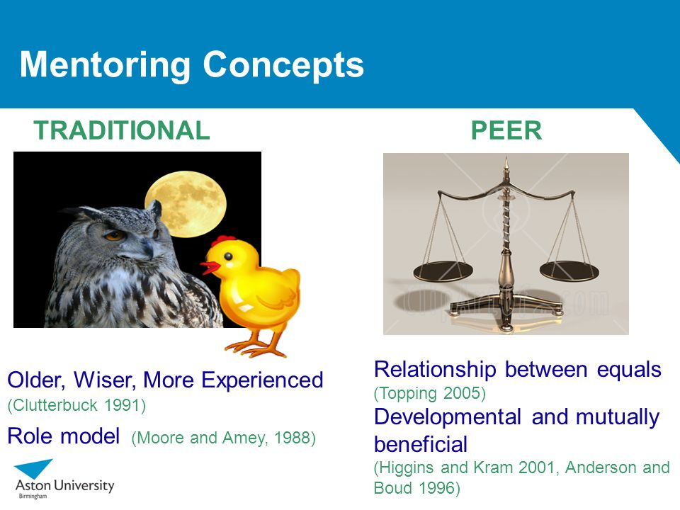 Mentoring Concepts TRADITIONAL PEER Relationship between equals