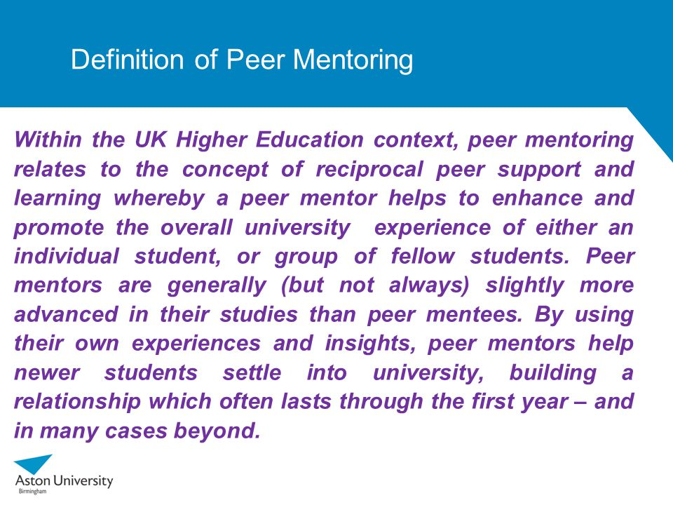 Definition of Peer Mentoring
