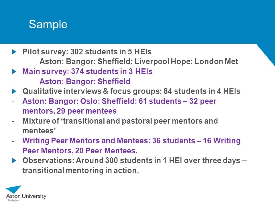 Sample Pilot survey: 302 students in 5 HEIs