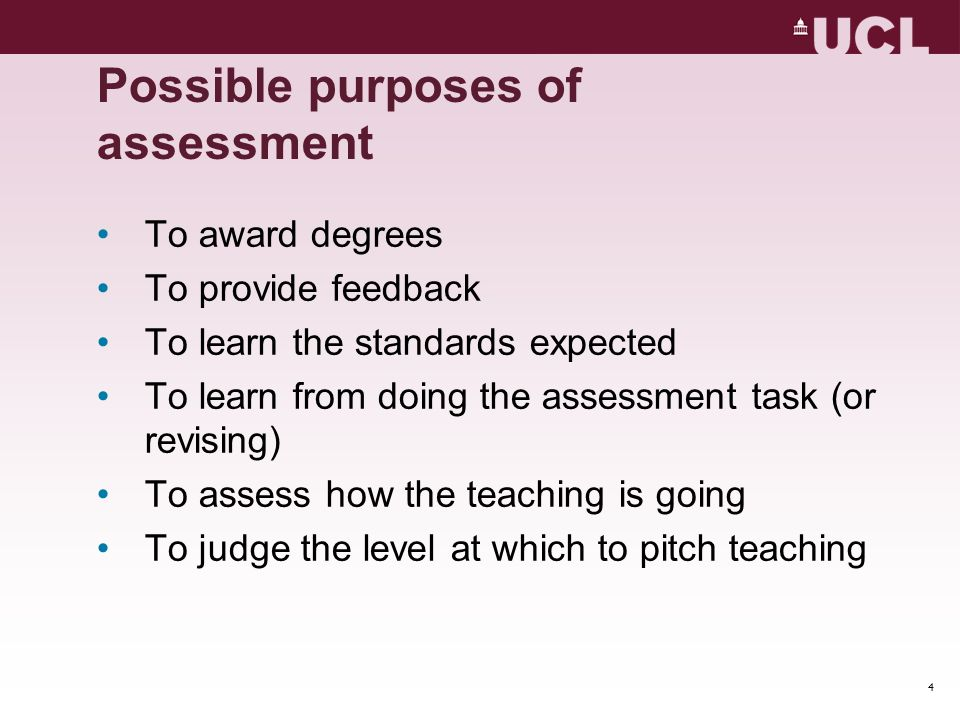 Possible purposes of assessment