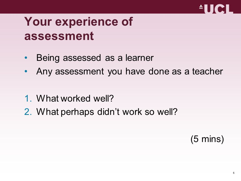 Your experience of assessment