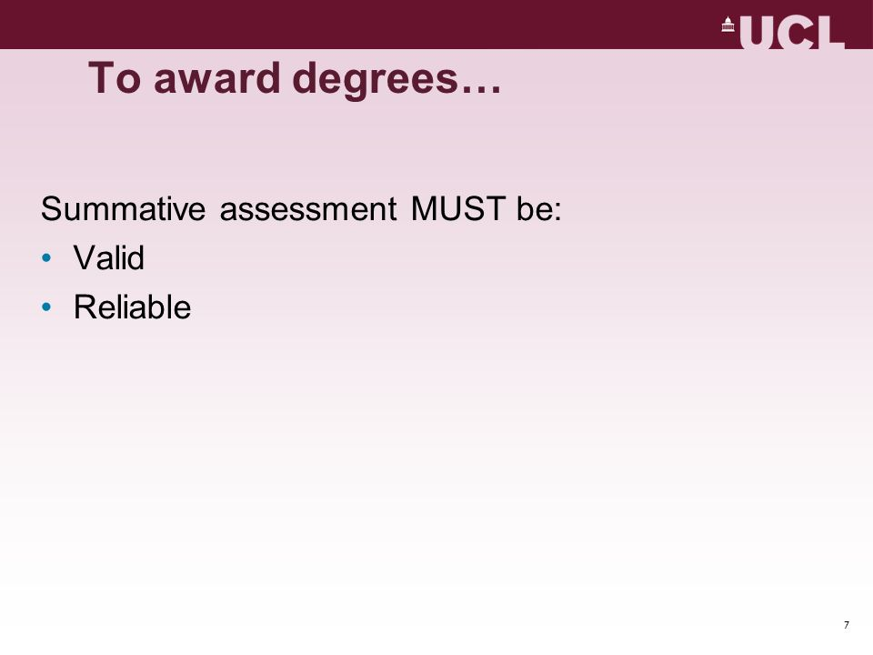 To award degrees… Summative assessment MUST be: Valid Reliable 28 mins