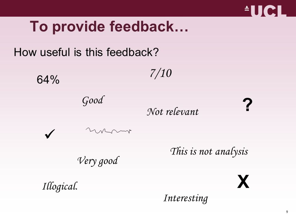 X To provide feedback…  7/10 How useful is this feedback 64% Good