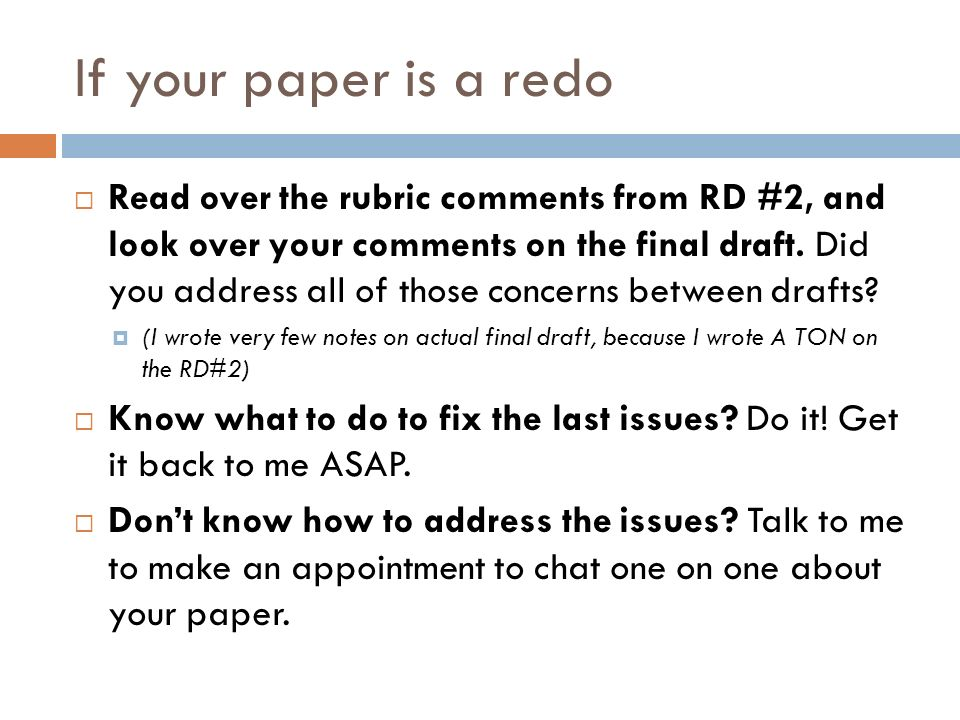 If your paper is a redo