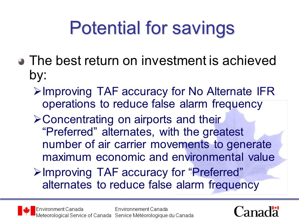Potential for savings The best return on investment is achieved by: