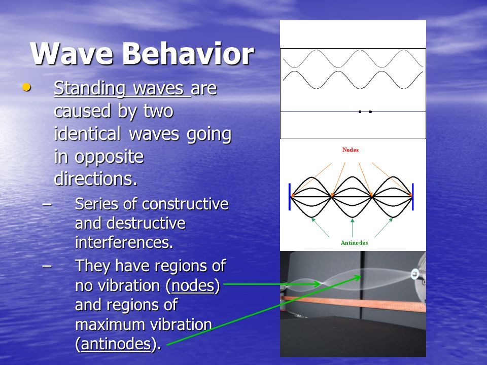 Wave Behavior Standing waves are caused by two identical waves going in opposite directions. Series of constructive and destructive interferences.