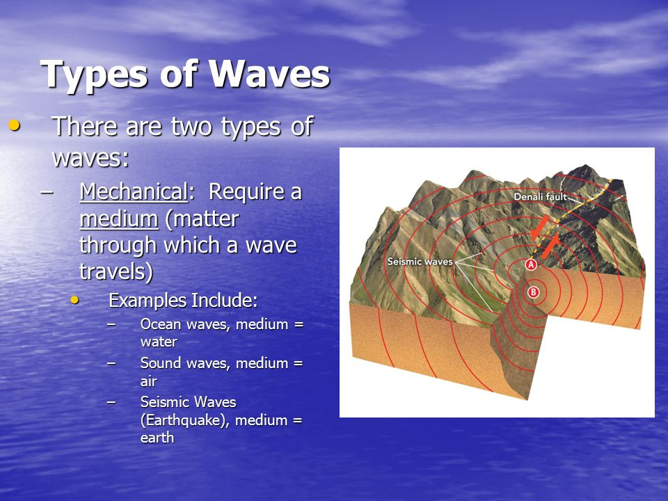 Types of Waves There are two types of waves: