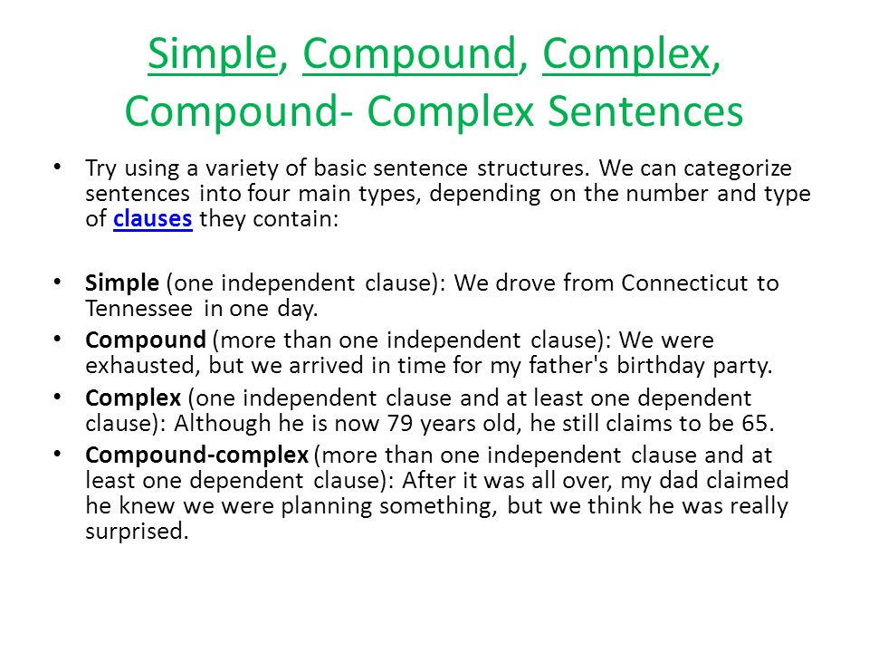 simple and compound sentences