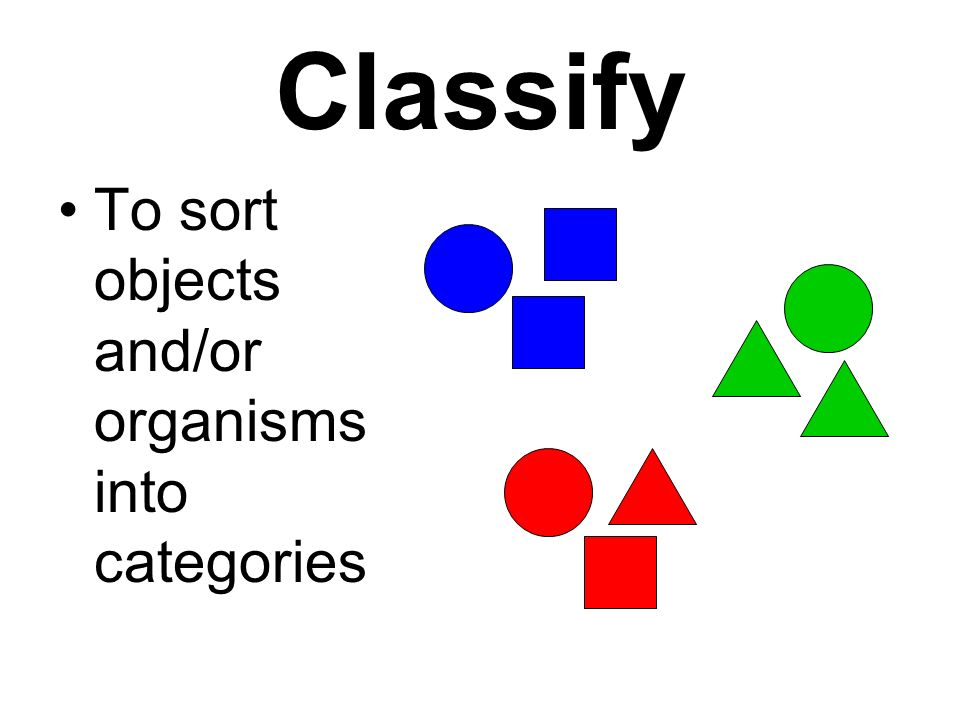 Classify To sort objects and/or organisms into categories