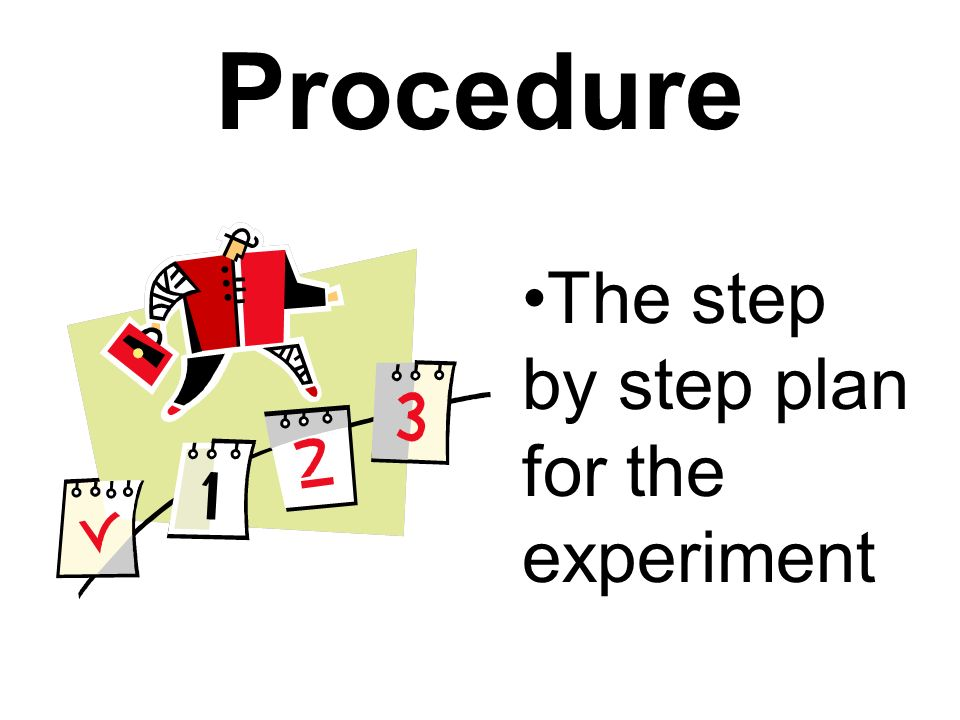 Procedure The step by step plan for the experiment