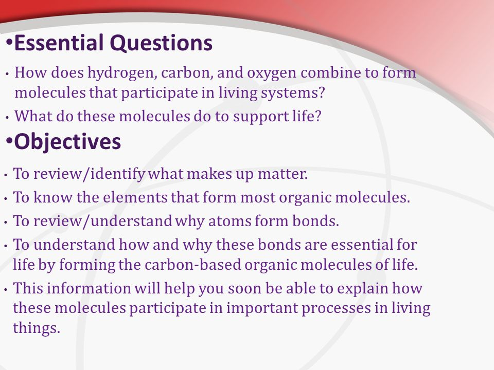 Unit 3 Unit Objective The Chemistry Of Life Ppt Video