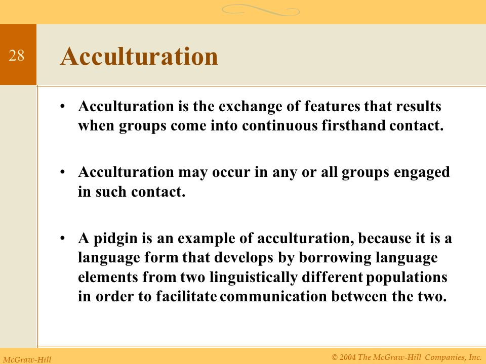 what is acculturation example