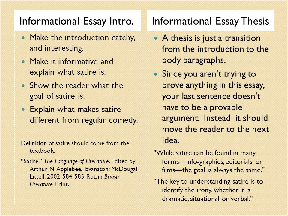 Informational Satire Essay  Ppt Video Online Download Informational Essay Intro Informational Essay Thesis