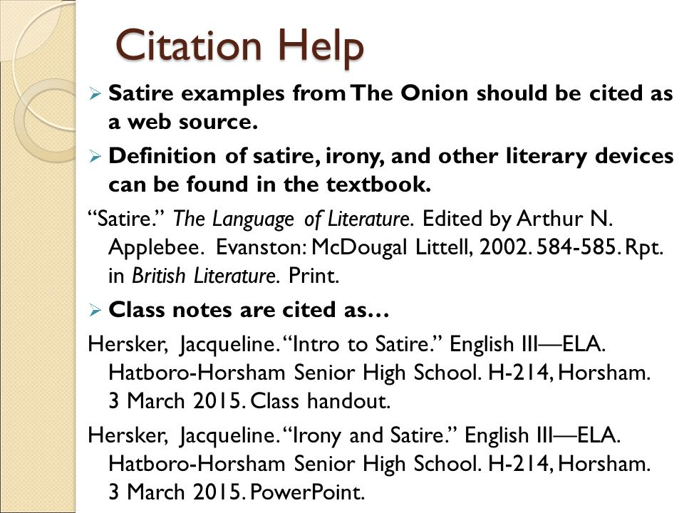 Politics And The English Language Essay Citation Help Satire Examples From The Onion Should Be Cited As A Web  Source Business Essay Sample also Essays On Business Ethics Informational Satire Essay  Ppt Video Online Download Sample Essays For High School Students