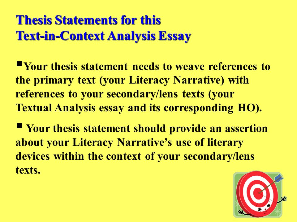 thesis statements for this text in context analysis essay