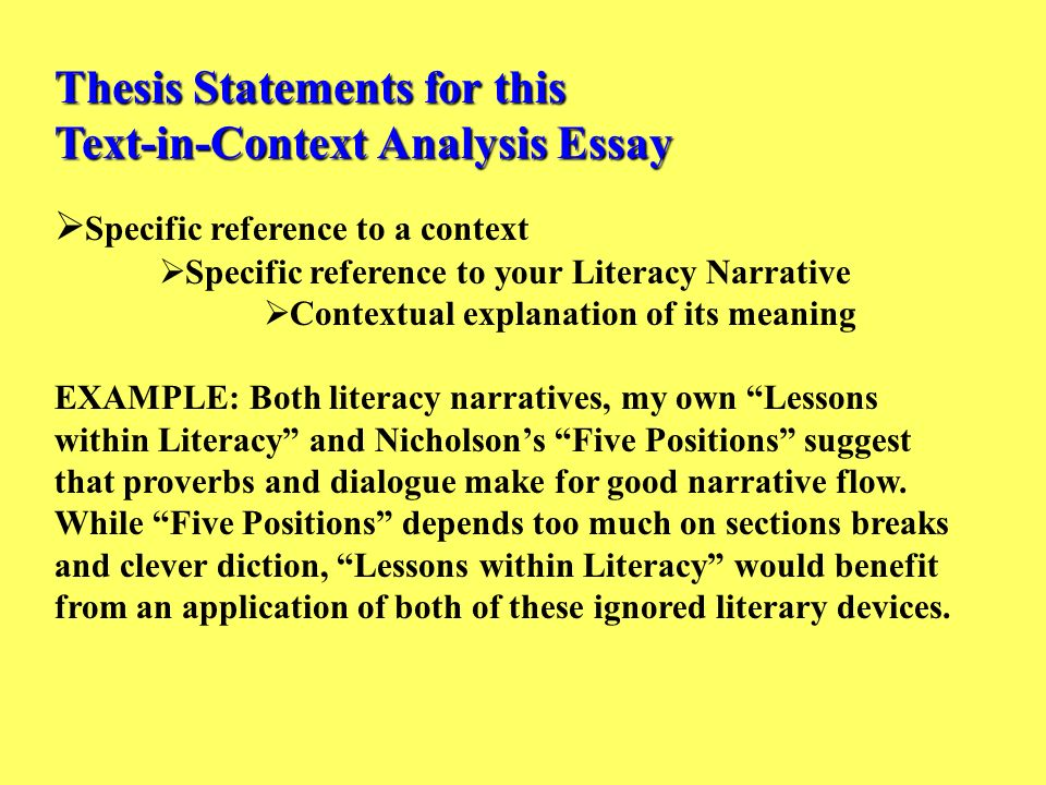 Narrative Essay Papers Thesis Statements For This Textincontext Analysis Essay Sample Proposal Essay also Research Paper Essay Format Thesis Statements For This Textincontext Analysis Essay  Ppt  English Class Reflection Essay