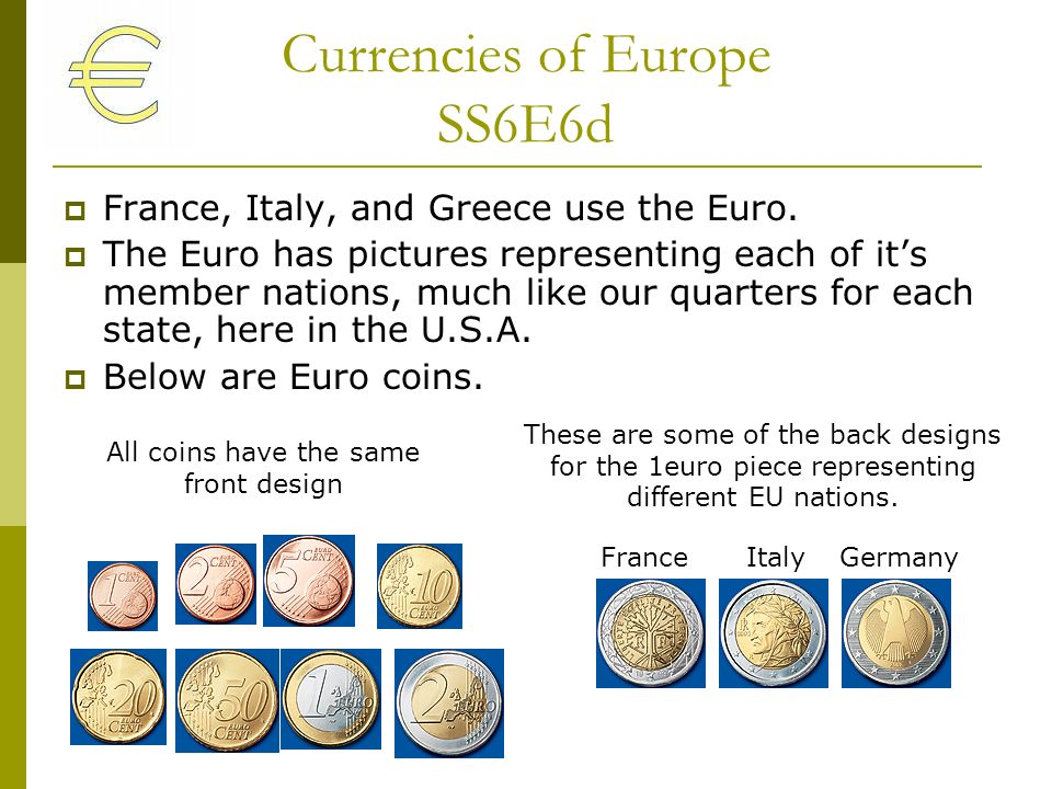 Currencies of Europe SS6E6d