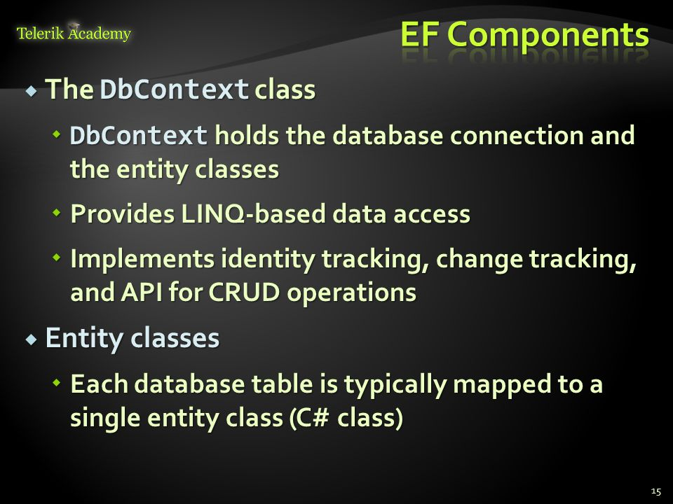 ORM Concepts, Entity Framework (EF), DbContext - ppt download