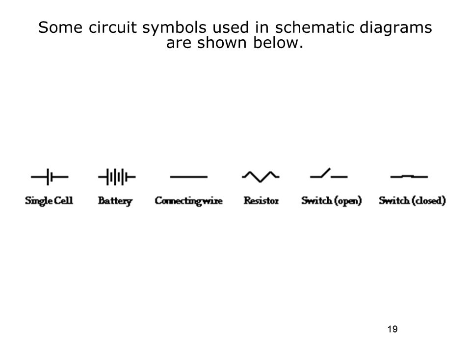 electric current and direct current circuits ppt video onlinesome circuit symbols used in schematic diagrams are shown below